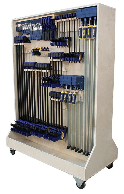 """Solve all of your woodworking clamp storage problems with this easy-to-build clamp rack. Overall dimensions approximately 48""""W x 23-3/4""""D x 67-1/4""""H when using 4"""" casters. All parts are made from 3/4"""" plywood. This mobile, two-sided rack is modular to change with your storage needs as you add more clamps. The custom brackets you make for each style of clamp can be securely fastened to the 3/4""""-thick partition and rearranged as needed. Download..."""