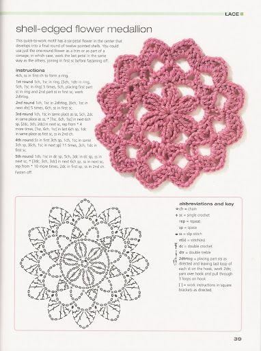 Crochet flowers with diagram #38