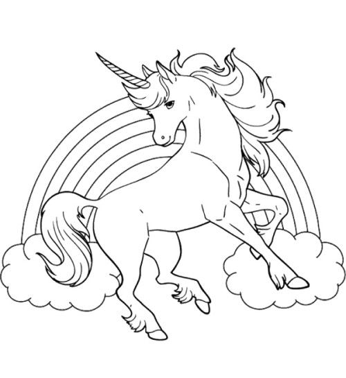 Unicorn Horse With Rainbow Coloring Page