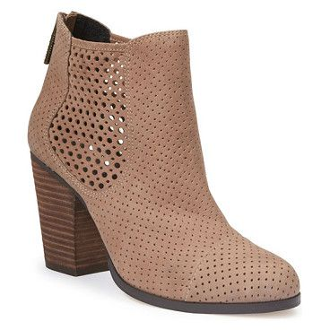 Adam tucker frankee bootie by Adam Tucker by Me Too. A blocky stacked heel elevates a trend-right Chelsea-inspired boot shaped from soft, perforated suede and finished wi...