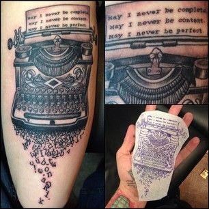 So awesome! | 26 Amazing Typewriter Tattoos That Will Inspire You To Write