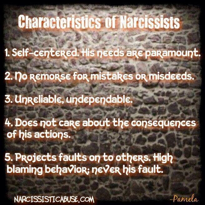 Characteristics of a narcissist