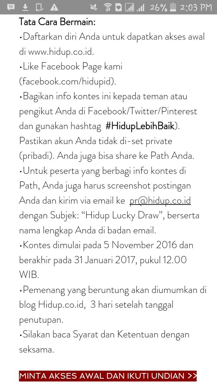 Yuk ikutan, daftar untuk minta akses awal dan menangin hadiahnyaaa #hiduplebihbaik @hidup.co.id