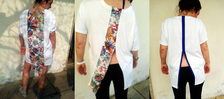 Made with love. Progetto personale, creazione di T-shirt, giochi di contrasto tra linee nette e stoffe multicolor