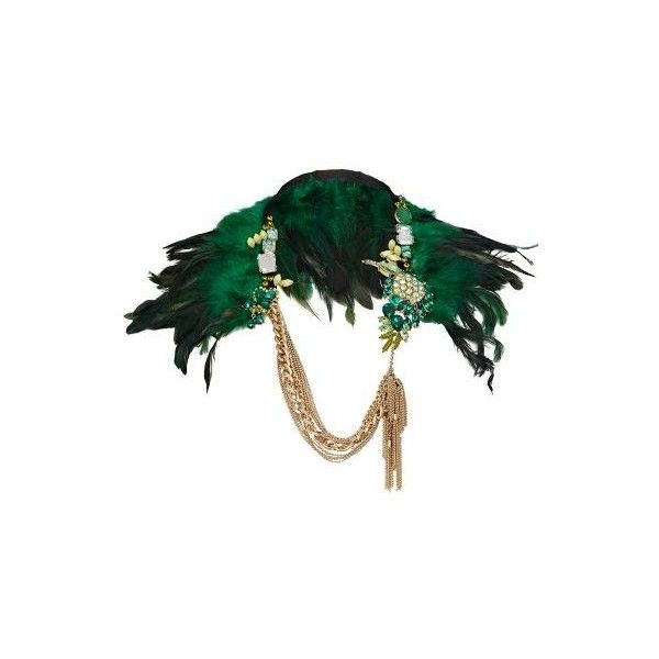 green feather and bird cape necklace - necklaces - jewellery - women - River Island (320 RON) found on Polyvore featuring women's fashion, jewelry, necklaces, green necklace, green jewelry, feather jewelry, body chain jewelry and feather necklace
