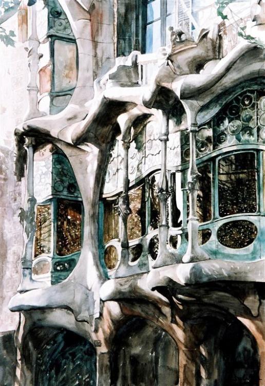 Façade - fragment, Casa Battlo, Barcelona (Painting),  51x74 cm par Paul Dmoch La beauté pure du genié de Gaudi