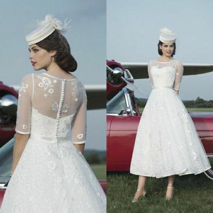 Wedding Dress Trends 2019 Weddingdresses Weddingdresslace Weddingdressideas Weddi In 2020 1950 Wedding Dress Vintage Style Wedding Dresses Tea Length Wedding Dress