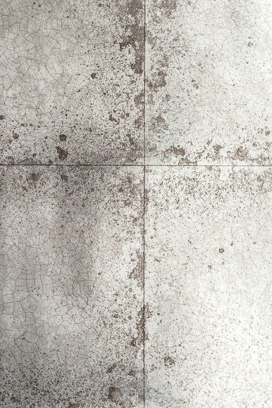 Lustre Tile Wallpaper Metallic silver and pewter tile wall paper with cracked, aged glaze effect.