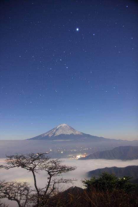 Mt. Fuji in the moonlight, Japan 新道峠からの富士山