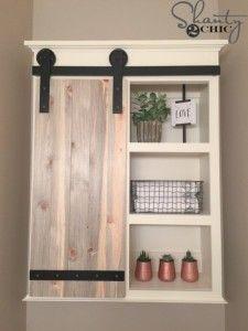 DIY Bathroom Decor Ideas - DIY Sliding Barn Door Bathroom Cabinet - Cool Do It Yourself Bath Ideas on A Budget, Rustic Bathroom Fixtures, Creative Wall Art, Rugs, Mason Jar Accessories and Easy Projects http://diyjoy.com/diy-bathroom-decor-ideas