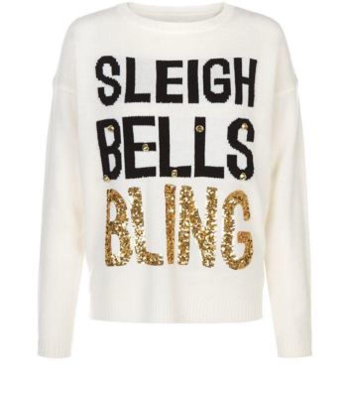 White Sleigh Bells Bling Christmas Jumper #NoveltyXmasJumpersUK  another for the Dramatics...