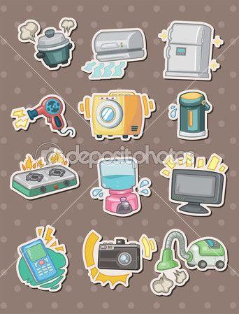 Aparato de dibujos animados calcomanías — Vector de stock © mocoo2003 #13149864