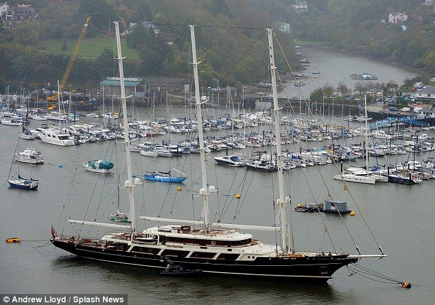 Barry Diller's yacht Eos, pictured here on an earlier trip, is over 300-feet long and feat...