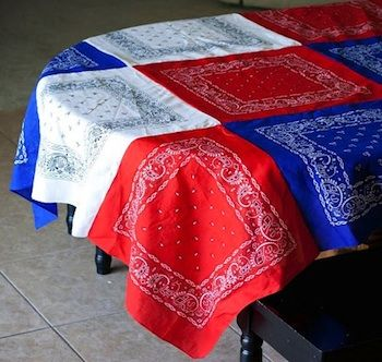 Memorial Day red white and blue bandana tablecloth tutorial