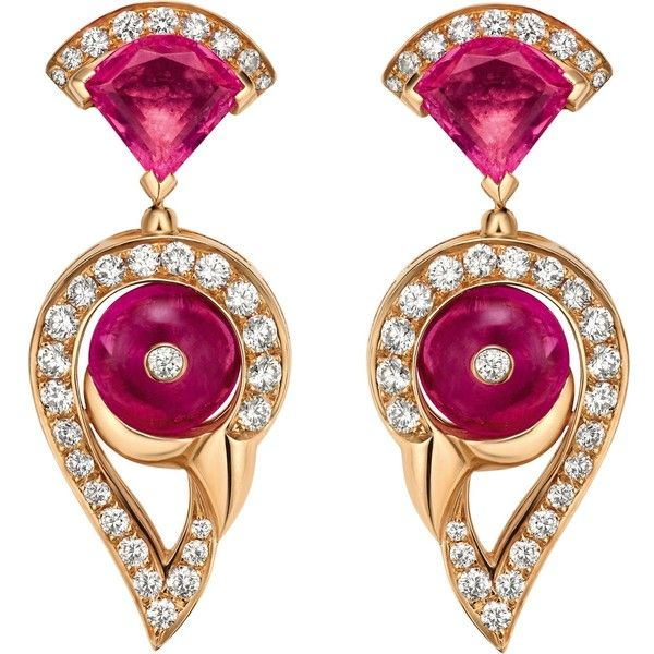 BVLGARI Divas' Dream 18ct rose-gold, rubellite, tourmaline and pavé... ($17,490) ❤ liked on Polyvore featuring jewelry, earrings, pave diamond earrings, rose gold earrings, pink tourmaline earrings, pink jewelry and red gold jewelry