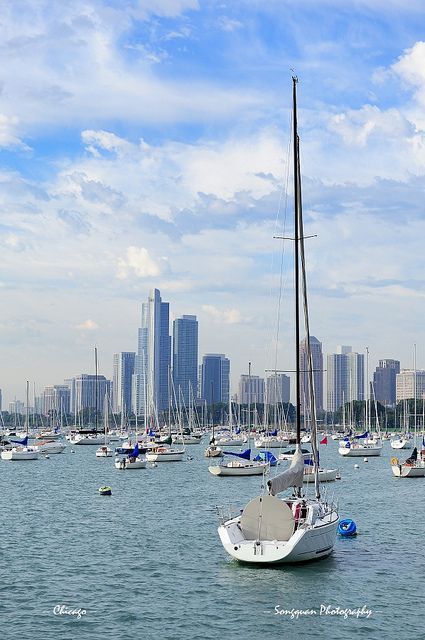 Chicago and Lake Michigan by Songquan Deng, via Flickr