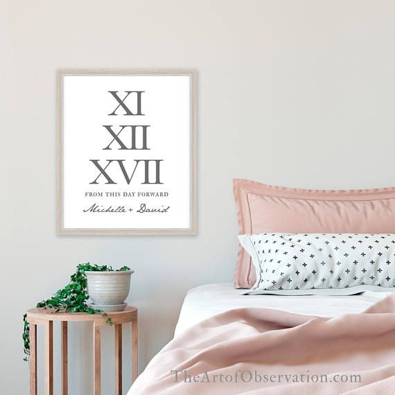 ...to have and to hold 'from this day forward'... lovely and timeless words, paired with the names of the Bride and Groom and their special date in Roman numerals. It can be the wedding date, engagement date, or anything else you like.   Roman Numeral Wedding Print