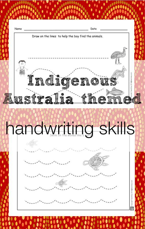 Handwriting activities for early learners. Australian Indigenous theme. www.teachezy.com www.earlychildhoodteachezy.com