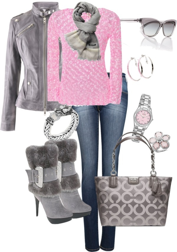 """""""warm winter pinks"""" by tina-harris ❤ liked on Polyvore...... i personally hate the boots.... but.."""