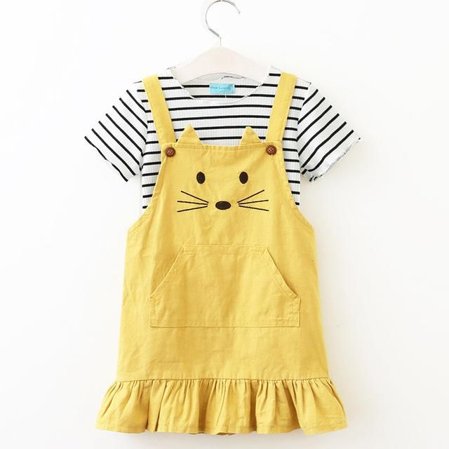 Girls Sets New Children Clothing Strap Dress Sets Kids Clothes Pullover Striped Shirt+Dress Suit Outwears