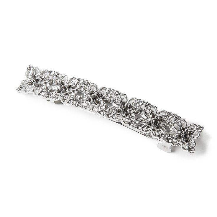 Silver Filigree Clovers and Hematite Crystals Barrette