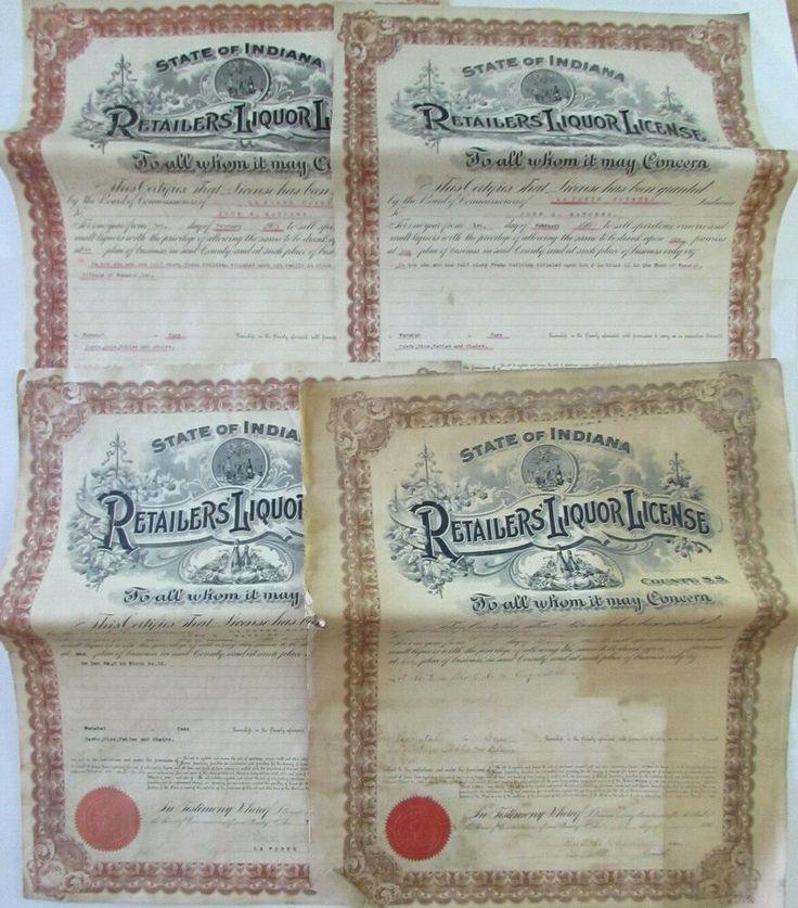 4 19081911 Wanatah Indiana Retailers Liquor License