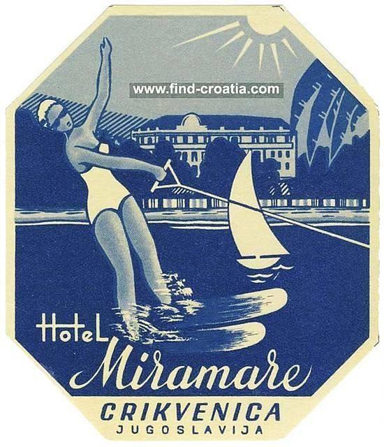 Crikvenica Hotel Miramare Vintage Luggage Label from 1950s