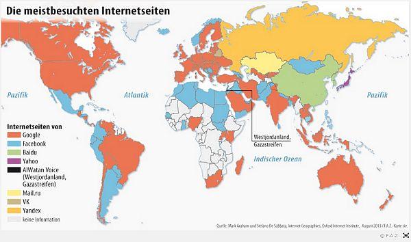 Internet Weltkarte mit den wichtigsten sozialen Netzwerken in 2013 #socialmedia