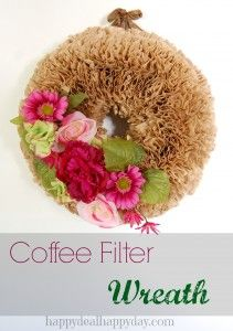 Coffee Filter Crafts | Coffee Filter Wreath    happydealhappyday.com