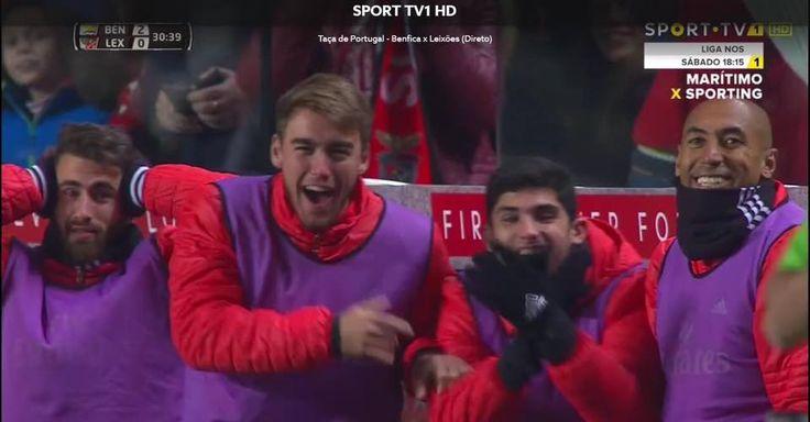 Rafa, Hortinha, Guedes e Luisão celebram 1º golo de André Almeida ao serviço do SL Benfica.