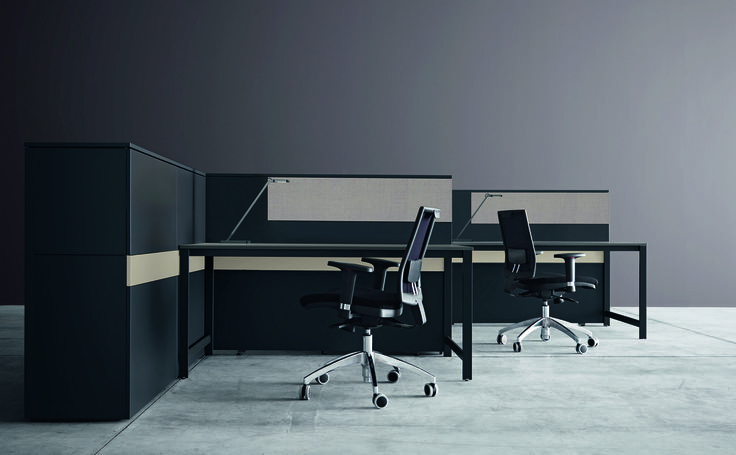 k-word desk and soundproof panels #black&sand #humanoffice #elegance #sober