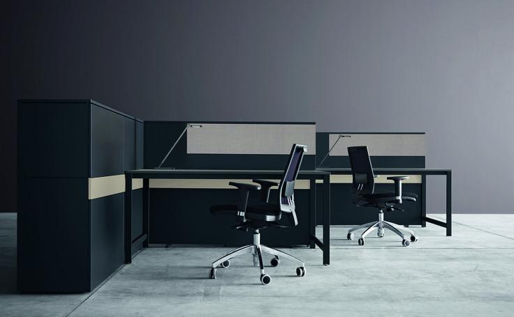 k-word desk and soundproof panels #black&sand #humanoffice #elegance #sober