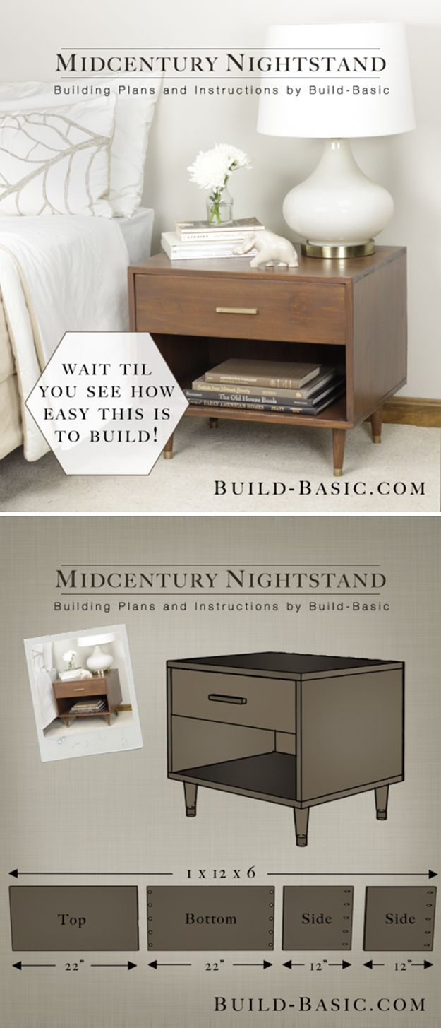 Simple Vintage DIY Nightstand | Midcentury Nightstand by DIY Ready at http://diyready.com/17-creative-and-cheap-diy-nightstands/