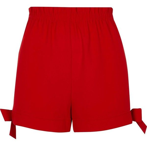River Island Red bow hem shorts (£40) ❤ liked on Polyvore featuring shorts, casual shorts, red, women, tall shorts, woven shorts, highwaist shorts, elastic waistband shorts and elastic high waisted shorts