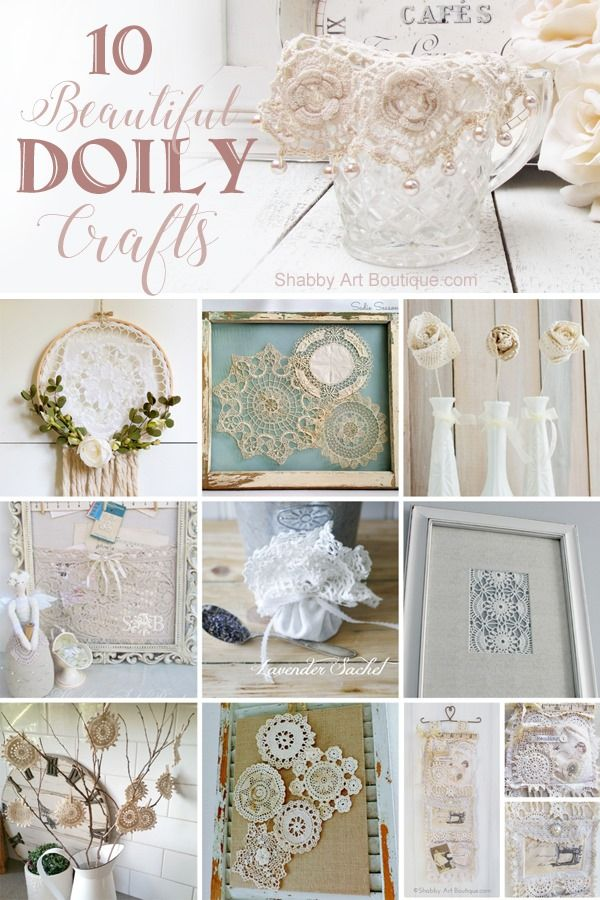 10 beautiful doily craft project tutorials. Click to view tutorials or PIN for later. Shabby Art Boutique