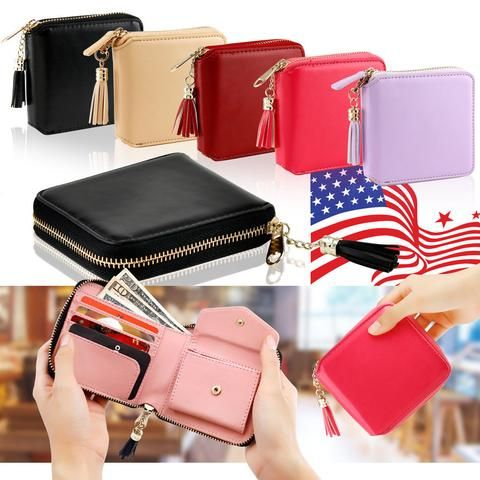 Women Leather Small Mini Wallet Card Holder Zip Coin Purse Clutch Handbag.