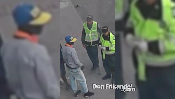 Unos señores patrulleros q se encuentran en la avenida Caracas a la sali...