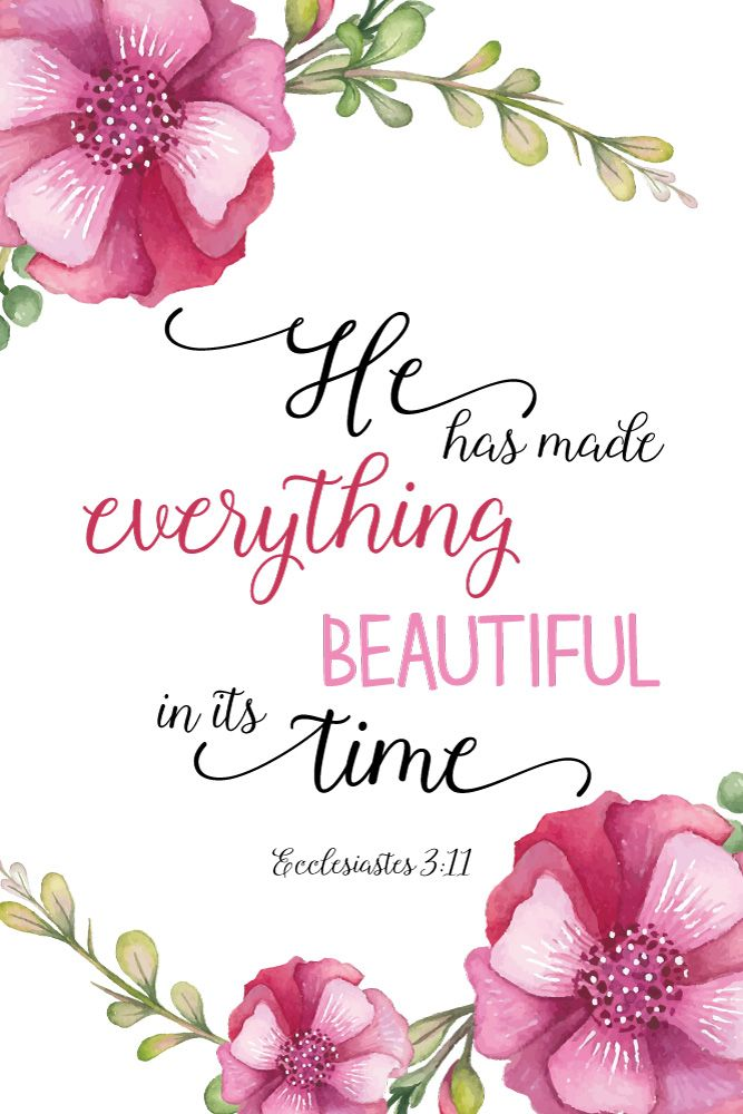 $5.00 Bible Verse Print -He has made everything beautiful in its time Ecclesiastes 3:11  In everything He created you'll find beauty if you look at it through the eyes of Jesus. Sometimes we need this reminder when we can't see the beauty within ourselves or when we're in a difficult situation. This bible verse print works perfect as a gift. - Different size options available. #hehasmadeeverythingbeautiful #ecclesiastes3 #scriptureprint #christiandecor #seedsoffaith #plantinghisword