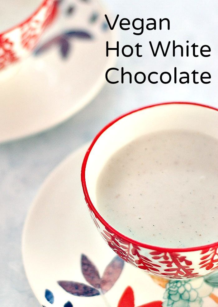 Vegan hot white chocolate sweetened with dates or your favorite sweetener. Makes a great base for a mocha too!