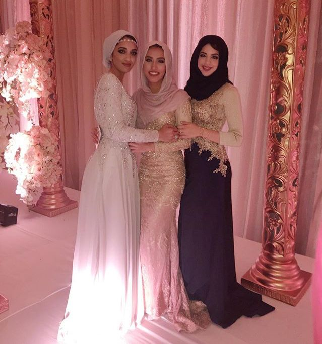 Hijab evening dresses with various styles of head covering.