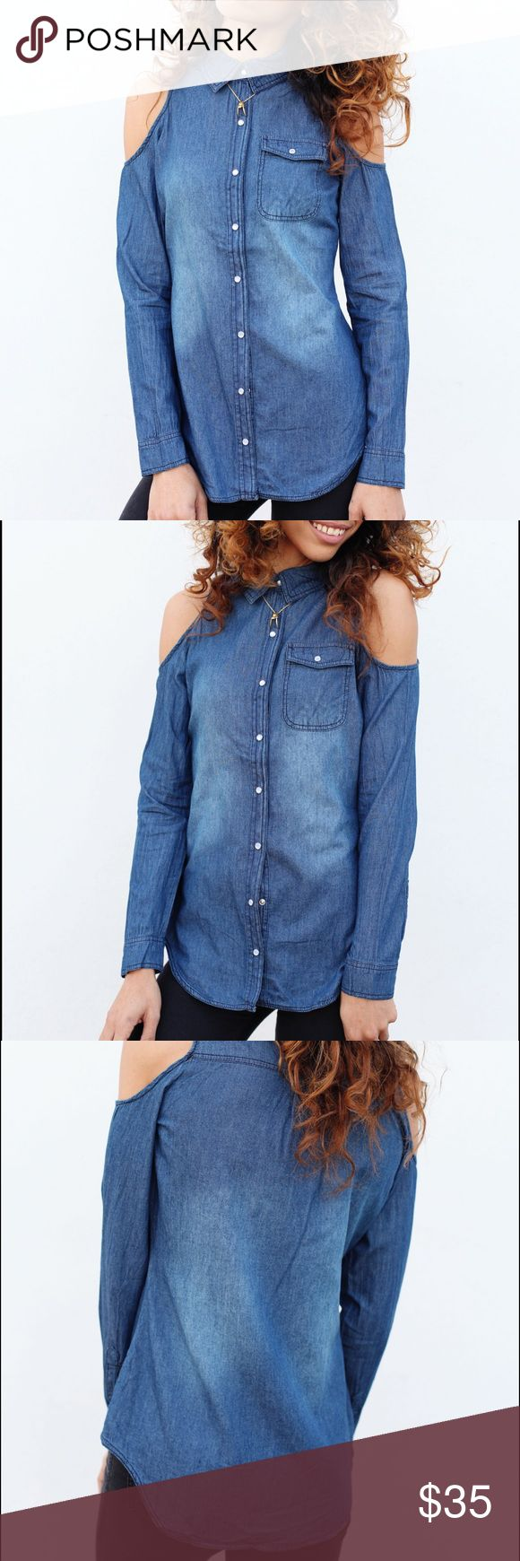 Denim Button Up Top Cecil Lee The Little Lady denim top features open shoulder sleeves, silver and pearl buttons down the front, as well as a functioning pocket.   Measurements:  Material: 100% Cotton Sleeve: 25 in Length: 26.5 Bust: 35  Measured from a Medium  Model is wearing a Small Tops Button Down Shirts