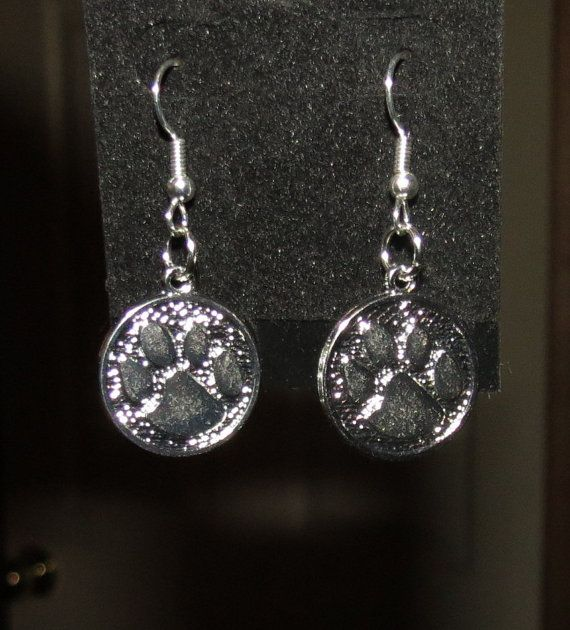 Silver plated Paw Print Charm earrings by PawInspiredCreations