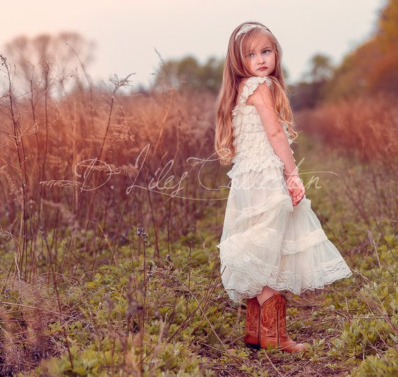 Eloise lace rustic flower girl dress ivory by DLilesCollection