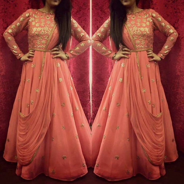Look ethnic and poised in this beautiful Peach drape anarkali!!! Wear it on wedding ceremonies or festivities..you'll be a hit for sure!! To order pls whatsapp at +16366758161
