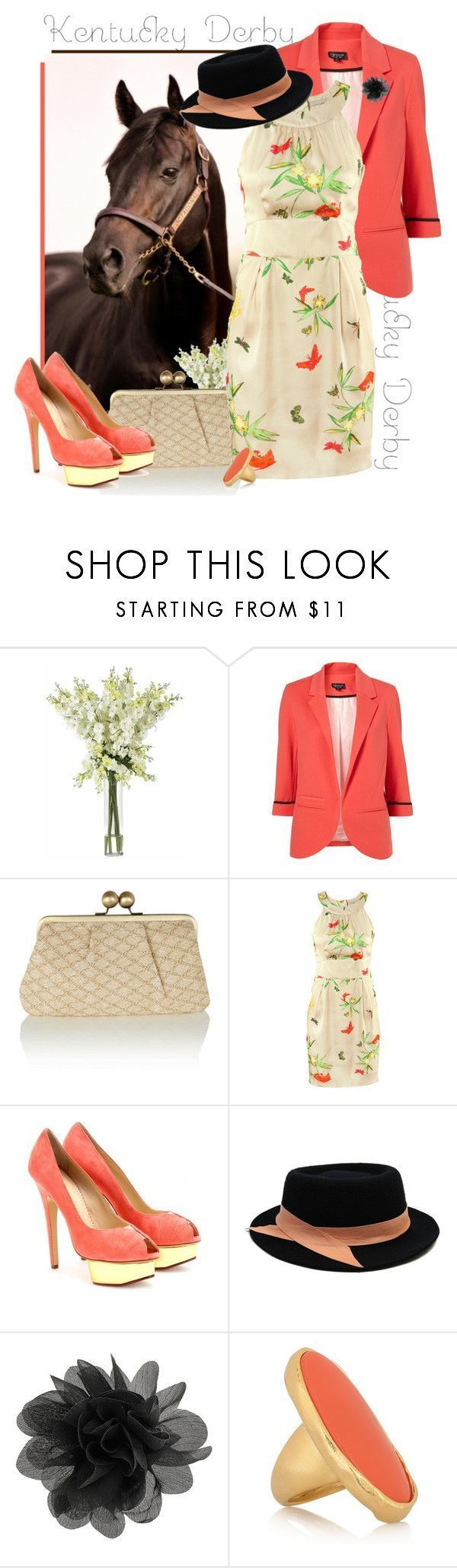 """""""Kentucky Derby"""" by bumblebeesfavorite ❤ liked on Polyvore featuring Nearly Natural, Oasis, H&M, Charlotte Olympia, Ann-Marie Faulkner Millinery, Dorothy Perkins, Kenneth Jay Lane, platform heels, floral dresses and cocktail rings #charlotteolympiaheelsdresses"""