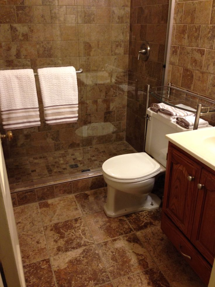 Sharing my bathroom because it's small, but it's beautiful! #bathroom #remodel  -SchluterKerdi System -Fusion Pro grout (light smoke)  -Marazzi Montagna Tile  (Supplies from Home Depot)