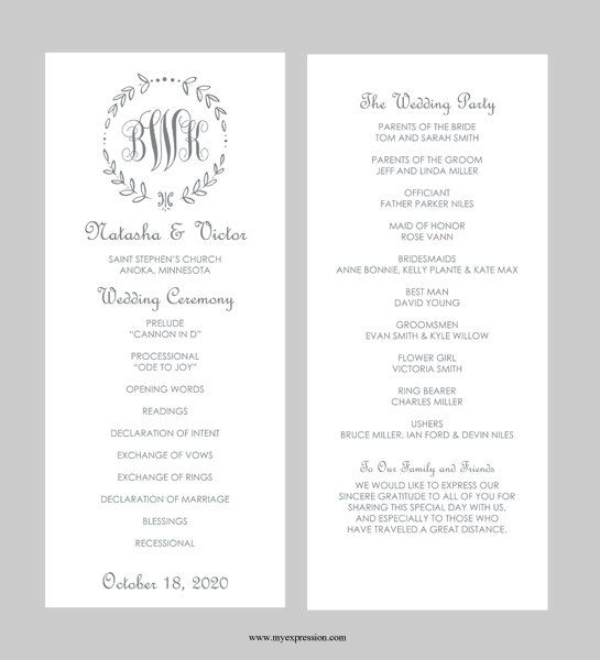 Wedding Program Template Tea Length Gray by MyExpressionShop                                                                                                                                                                                 More