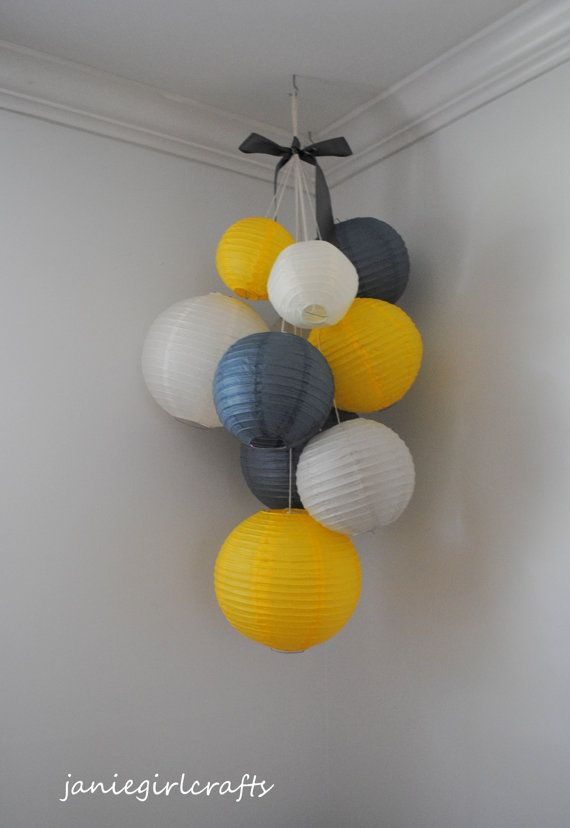 Grey Yellow and Ivory Large Paper Lantern