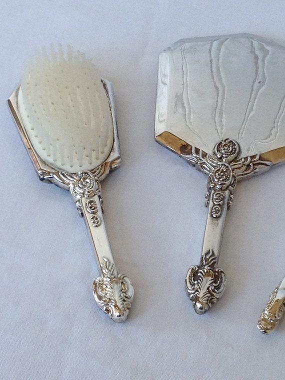 Silver Plated Godinger Gsa Vanity Set Brush Comb