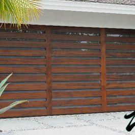 wood slat garage door